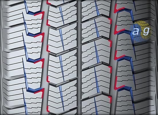 Елементи дизайну, що підвищують ефективність гальмування шини на снігу